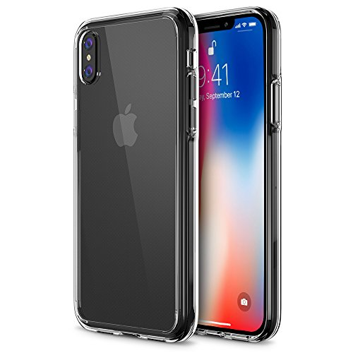 Trianium Case Compatible for Apple iPhone X Case 2017 ONLY (5.8' Display Phone) Clarium Series with Reinforced TPU Hybrid Cushion and Rigid Back Panel Covers [Enhanced Hand Grip] - Clear