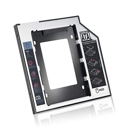 Ba30DEllylelly Caddy de Disco Duro SATA Segundo HDD SSD de Aluminio Universal de 9,5 mm con 4 Tornillos para Adaptador de bahía óptica de CD/DVD-ROM