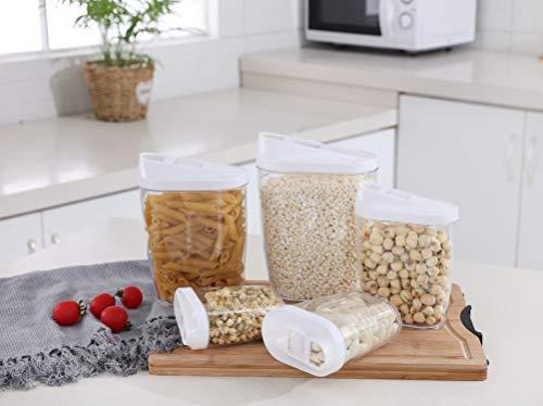 5 pezzi contenitori per alimenti impilabili chiudibili a chiave vaschette di stoccaggio in plastica acrilica trasparente 1440ml, 960 ml, 720 ml, 480 ml, 300 ml