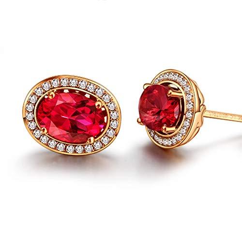 ANAZOZ 18K Oro Rosa Pendientes Mujer Oro Rosa Pendientes Mujer Oval Turmalina Roja Blanca 2ct