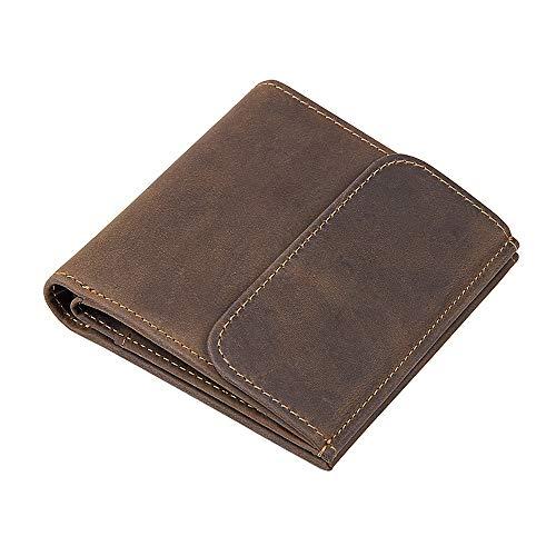 Fashion RFID Block Leather Wallet Men's Vintage Leather Men's Cardet Wallet Short Retro Buckle Wallet leather (Color : Brown, Size : S)