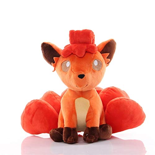 Fximt 23CM Fire Vulpix Plush Figure Toy Anime Cartoon Pokemon Stuffed Soft Doll Pillow Christmas Birthday Gifts for Children Boy Girls
