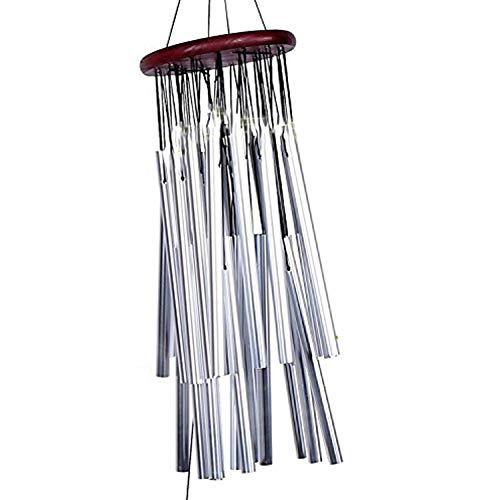 Yosoo Campane A Vento Grande Con 27 Tubi In Metallo Argento, Carillon Di Vento Decorazione Da Appendere Giardino Esterno, Con Campanelle