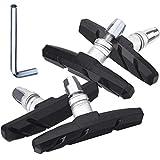 LIUHAN 2 Paar Bremsbelag-Set Fahrrad Bremsbacken, V-Brake Bremsbeläge, Geräuschlos rutschfeste Leicht Gebogene Bremsbeläge, 70mm, Schwarz