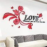 ABCBCA 3 Tamaño Multi-Pieces Amor Patrón de Flores 3D Acrílico Decoración Etiqueta Etiqueta Etiqueta de Pared DIY Cartel de la Pared Boda Decoración para el hogar Dormitorio Web Wallstick