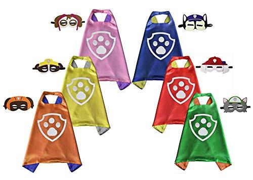 Brigamo 6 x Fellfreunde Superhelden Kinderkostüm Kinder Kostüme, ideal für Kindergeburtstag, Fasching oder Karneval