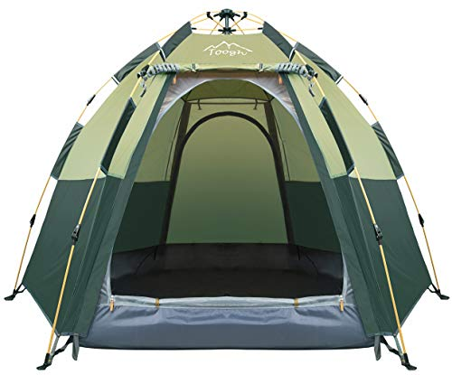 Toogh 3-4 Person Camping Tent 60 Seconds Set Up Tent Waterproof Pop Up Hexagon Outdoor Sports Tent Camping Sun Shelters, Instant Cabin Tent, Advanced Venting Design, Provide Top Rainfly(2021 Update)