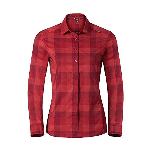 Odlo Damen Blouse l/s Fairview Bluse, Bittersweet-Chinese red-Jester red-Check, XL
