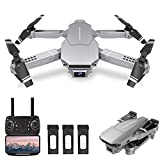 GoolRC E98 RC Drone with 4K HD Camera, WiFi FPV Drone for Adults, Foldable RC Quadcopter with 3D FILP, Headless Mode, Altitude Hold, Track Flight, Storage Bag and 3 Batteries (Silver)