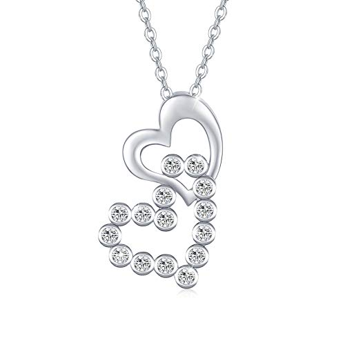 Women's Double Heart Necklace 925 Sterling Silver Pendant Necklace Heart to Heart Crystals Pendant on Chain Necklace Fashion Gifts for Women Jewellery Anniversary Valentine's Day Promise Gifts Box