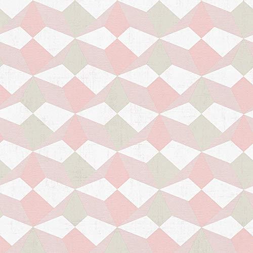 Vliestapete Vintage-Tapete 341334 34133-4 A.S. Création Scandinavian Style | Beige/Crème Grau Pink/Rosa | Muster (21 x 29,7 cm)
