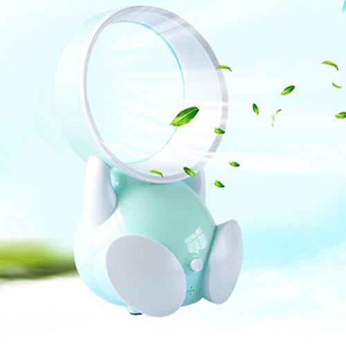 VORCOOL Mini Blattloser Ventilator Tragbare Elektrische Luft Lüfter Flüsterleiser USB Tischventilator für Kleinkinder (Blau)