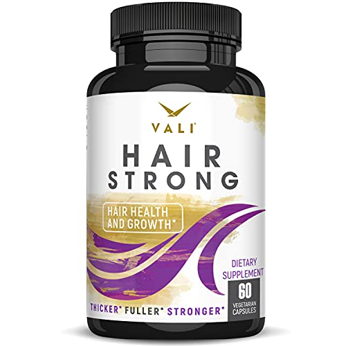 Hair Health Growth Vitamins with Biotin & Keratin - 60 Veggie Capsules. Extra Strength Supplement for Longer Stronger Hair, Skin & Nails. For Damaged, Thinning, Hair Loss, Faster Regrowth, Women & Men