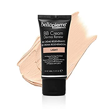 bellapierre BB Cream Derma Renew | 4-in-1 Concealer Foundation Moisturizer and SPF 15 | Anti-Aging Formula to Prevent Fine Lines and Wrinkles | Non-Toxic and Paraben Free | 1.5 Oz - Light