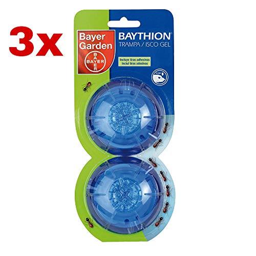 Kit 3X Bayer Garden Baythion Trampa Antihormigas En Forma De Gel para Interiores Y Exteriores, Verde Agua