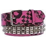 Snap On Art work Skull Cross Bone Tattoo Print Punk Rock Silver Star Studded Leather Belt, hot pink/black   L/XL-40'