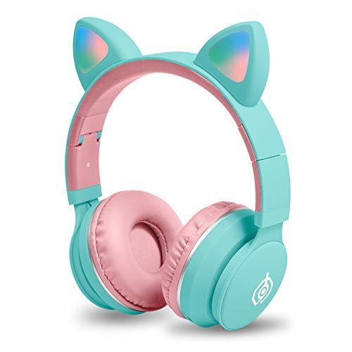 Auriculares para niños Auriculares con Oreja de Gato inalámbricos con Bluetooth (Azul Rosa)
