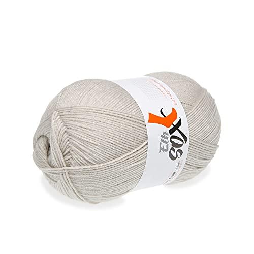 ggh ElbSox Merino - 4 Uni | Sockenwolle (4-fädig) aus Merino Wolle | 100g Sockenwolle zum Stricken oder Häkeln | einfarbig | Farbe 003 - Hellgrau