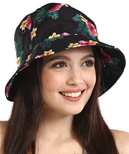 Sombrero para el sol estilo cubeta para hombres y mujeres – Protección UV UPF 50, empacable, de pescador de verano para pesca, safari, playa y navegar, Balde, Floral Black,...
