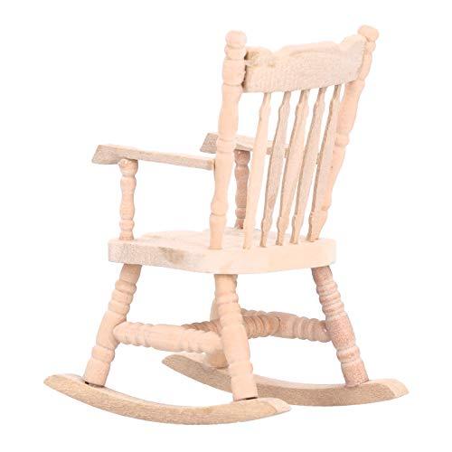 Zerodis 1:12 Silla Mecedora en Miniatura, Muebles de balancín de Madera Modelo de simulación de Juguete Mini Silla de Muebles de casa de muñecas con apoyabrazos para bebés niños niñas(Burlywood)