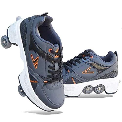 FMXYMC 2 en 1 Zapatos Casuales de Patinaje sobre Ruedas/Zapatos de deformación Parkour, Zapatos para Correr Invisibles de Cuatro Ruedas, Zapatos para Caminar automáticos,Gris,US 3 /EUR 31