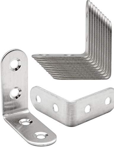 FUXXER® - 10x Edelstahl-Winkel, Winkel-Verbinder, Holz-Bau, Loch-Winkel, Bau-Winkel 40 mm x 40 mm, 17 mm breit, 10er Pack