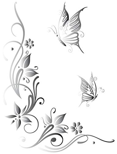 DD Dotzler Design 041215 Klebe-Folie Schmetterling Tattoo Tribal Blumen-Ranke Ornament Auto-Aufkleber Vinyl-Folie Auto-Dekor Aufkleber-Folie (43 x 57 cm) Silber-metallic