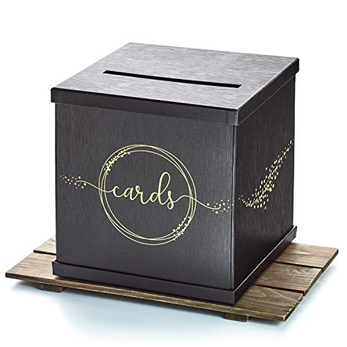Hayley Cherie - Black Gift Card Box with Gold Foil Design- Textured Finish - Large Size 10