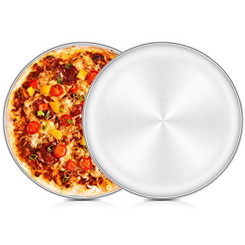Pizza Baking Tray Set of 2, HaWare 12 inch Stainless Steel Pizza Pan Oven Tray, Round Baking Sheet, Less-Stick, Non Toxic & Healthy, Heavy Duty & Dishwasher Safe