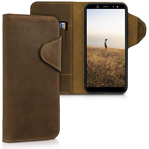 kalibri Wallet Hülle kompatibel mit Samsung Galaxy A6 (2018) - Hülle Leder - Handy Cover Handyhülle in Braun