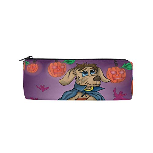 Pencil Bag Puppy Dog Pumpkin Hallowee, Pencil Case Pen Zipper Bag Pouch Holder Makeup Brush Bag for School Work Office