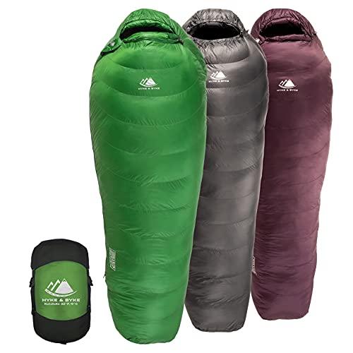 Hyke & Byke Katahdin 32F 15 0F 625 - Saco de dormir hidrofóbico con material sintético avanzado, ultraligero para 4 estaciones, para hombres y mujeres, bolsa de momia diseñada para mochileros