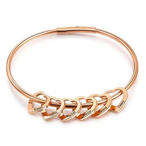 yuge Pulseras de corazón de 2 a 6 nombres grabados personalizados para mujeres pulseras y brazaletes de acero inoxidable regalos para la familia 6Hearts-oro rosa