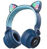 Wireless Bluetooth Kids Headphones, Aresrora Cat Ear Bluetooth Wireless/Wired Headphones Volume Limiting,LED Light Up Kids Wireless Headphones Over Ear with Microphone (Blue)