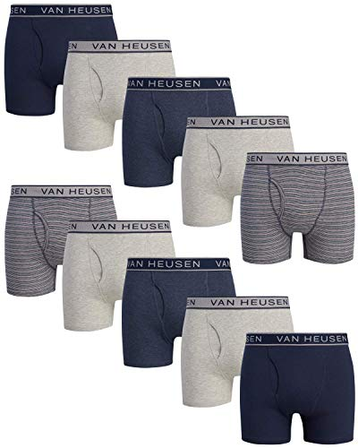 Van Heusen Men's 10 Pack Cotton Boxer Brief with Functional Fly, Size Small, Grey/Stripe/Blue'