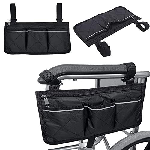 Rollstuhltasche für Armlehne, Sichere Aufbewahrungstasche für Rollstühle Mobilitätshilfe für Rollstuhltasche, mit 3 Fächern Reflektierenden Aufbewahrungstasche,für Rollstühle, Kinderwagen