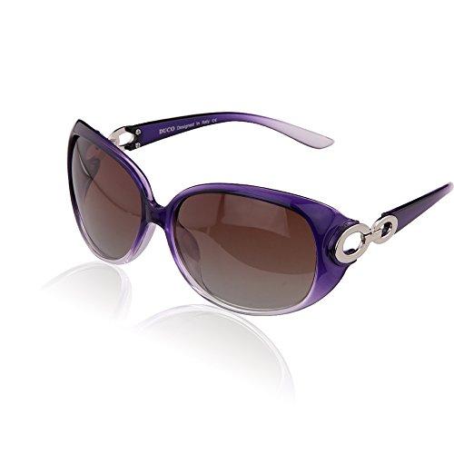 DUCO Damen Sonnenbrille polarisiert Klassisch Stern 100% UV-Schutz 1220 (Violett)