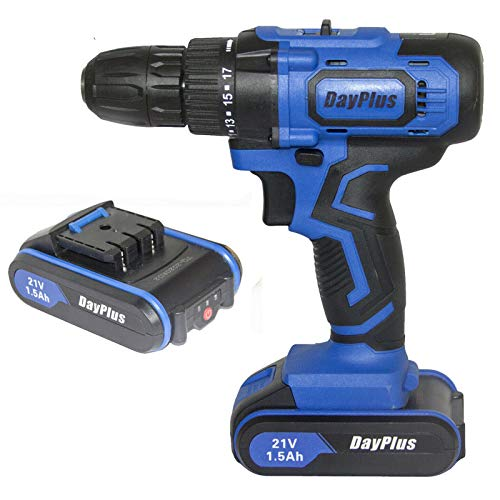 21V Cordless Drill Driver Screwdriver with Magnet, Use as Hammer 3/8 Inch Chuck 2Pcs 1500mAh Li-ion Battery 18+1 Torque Setting 2 Variable Speed LED Light, Include 29Pcs Accessories and Case