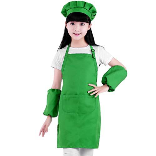 Delantal Infantil Green Polyester Hat Hat Delantal Traje Completa Cocina Playset Chef Set Regalos con Sombrero Chef para Nios Cocinar Play Mantnlo Limpio