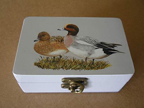Caja artesana decorada'Collera de Chilladeros', Silbón europeo (Anas penelope), European wigeon Silbón