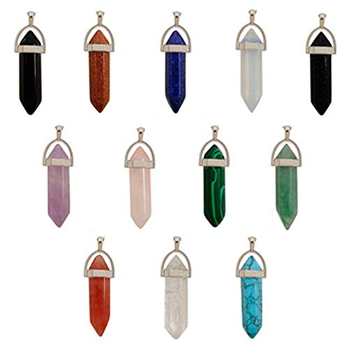 BJ-SHOP Colgante de Cristal Hexagonal, Collar con Piedra de Cuarzo Colgantes de Piedra de Cristal Hexagonal Natural Collar