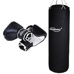 Boxsack Set   inkl. Boxsack gefüllt 19 kg, 30/80 cm, Boxhandschuhe Großenwahl (10, 12, 14 oz), mit Stahlketten und Karabinerhaken   Punching Bag für Kickboxen, MMA, Muay Thai, Kampfsport (12 oz)