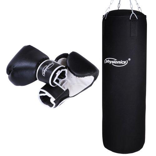 Physionics Boxsack Set - inkl. Boxsack gefüllt 19 kg, 30/100 cm, Boxhandschuhe 10 oz, mit Stahlketten und Karabinerhaken - Punching Bag für Kickboxen, MMA, Muay Thai, Kampfsport