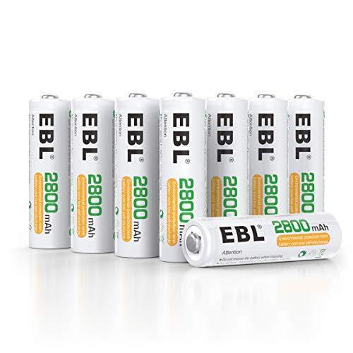 EBL 8pcs AA Piles Rechargeables Ni-MH 2800mAh...