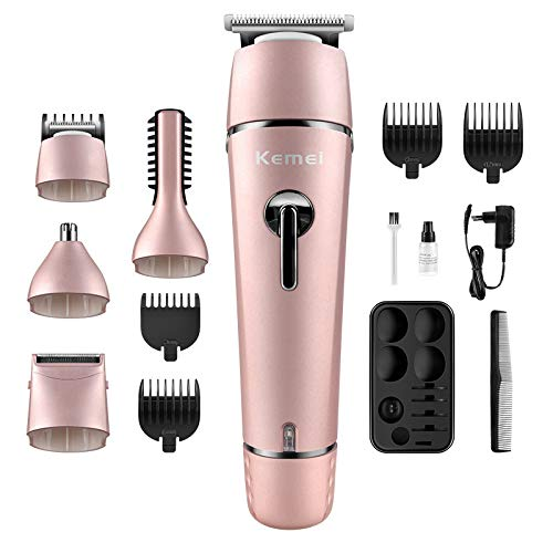N2 Aobiny Electric Hair Clippers for Men Quiet Cordless Rechargeable Hair Trimmers Set, Haircut Barber Cordless Beard, Nose, Hair Trimmer, Best Gift for Men Dad (Black) (Pink)