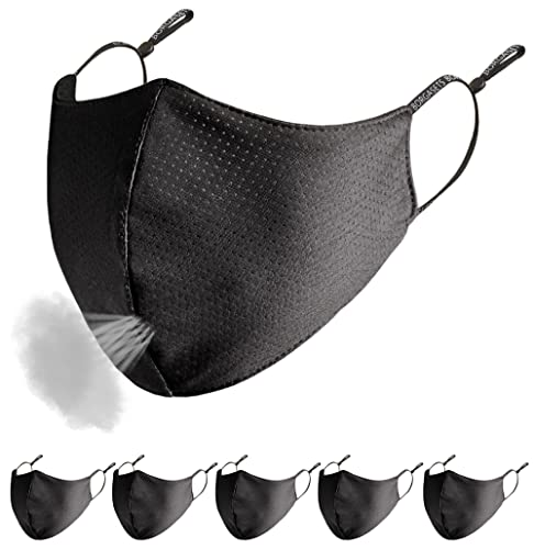 Face Mask Washable Reusable Exercise Breathable Men Women Adults Outdoor Black 5 Pack (Black 5 Pack)