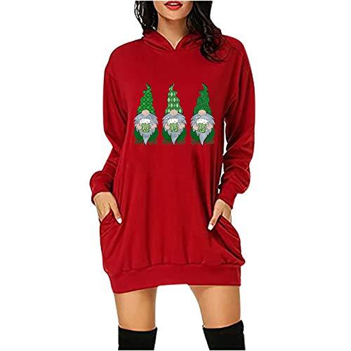 Masrin Mask Pull à capuche pour femme - Mode Saint Patrick - Impression de nom - Manches longues - Avec poche - Taille XS - Rouge