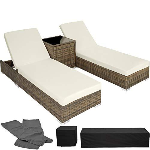 TecTake 800153 2X Tumbona Chaise Longue de Aluminio Poli Ratán + Mesa de Jardín + 2 Set de Fundas Intercambiables + Funda Completa (Natural | No. 403771)