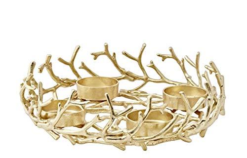EDZARD Adventskranz Porus, Geweih-Design, Aluminium vernickelt, goldfarben, Durchmesser 42 cm