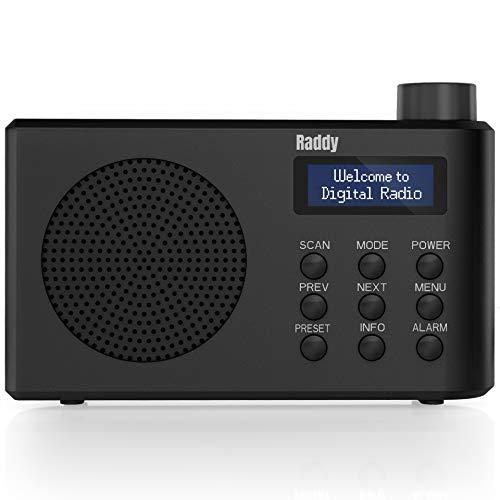 Raddy RD3 Radio Portatile Digitale DAB/DAB+/FM Alimentata a Batteria o con Cavo, con Bluetooth Integrato, 50 Stazioni Preimpostate, Funzioni Sveglia e Timer, Connettore Jack per Auricolari